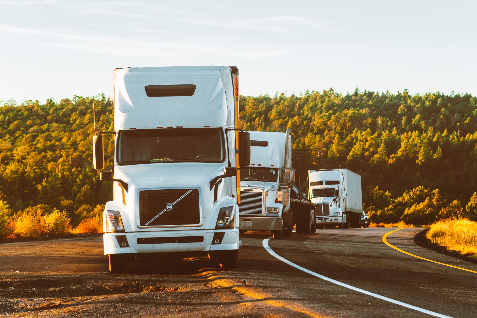 white volvo semi truck on side of road